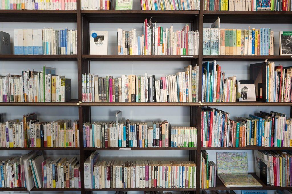 Drewniana półka na książki w jasnym pomieszczeniu
